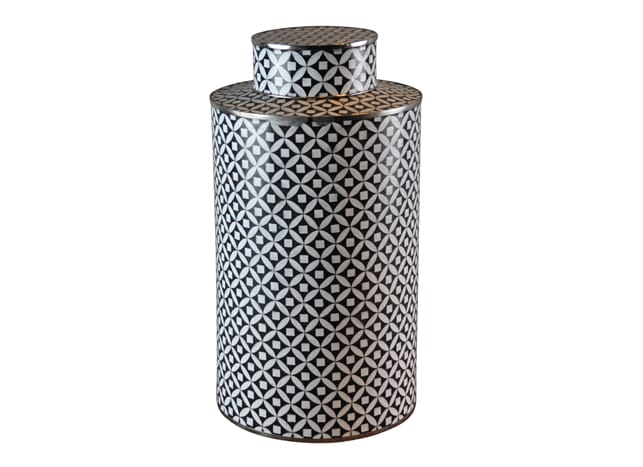 Black and White Cloisonne Jar