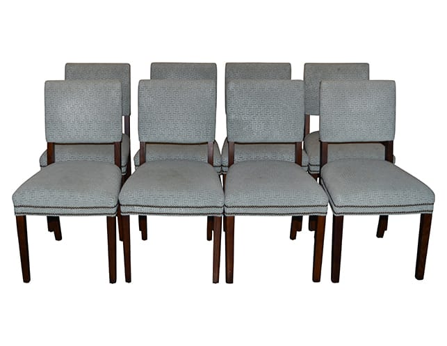 Set of Eight Upholstered Arm Chairs