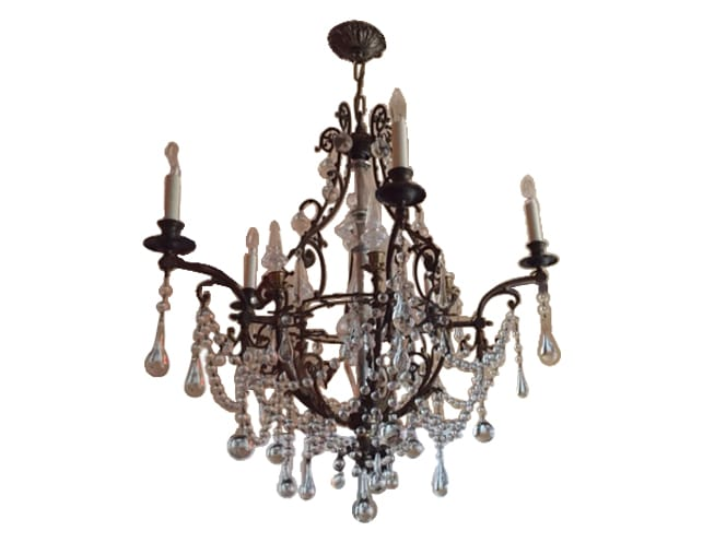 Brass and Crystal French Antique Chandelier, $3,200.00 (Estimated Retail: $3600.00)