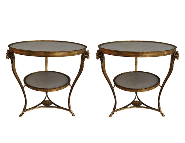 Vintage Louis XVI Style Gilt Bronze and Marble Gueridons Pair, $19,500.00 (Estimated Retail: $32000.00)