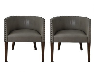 Leather Dessin Fournir Barrel Chair Set