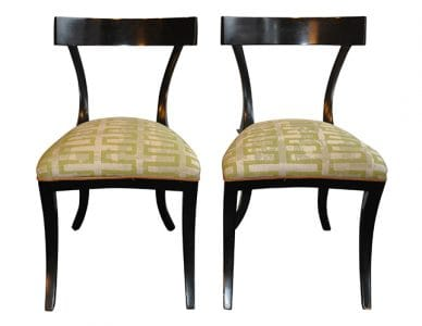 Vintage Art Deco Klismos Style Black Chair Pair