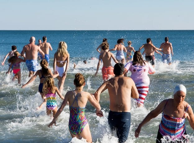 Video and Photos: 2017 Old Greenwich New Year's Day Dip at Tod's Point