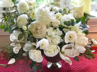 Holiday Winter White Centerpiece - English Garden Roses - Master Class