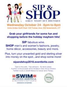 Sip and Shop Girls' Night Out Boutique to Support Cancer Research - Innis Arden Golf Club