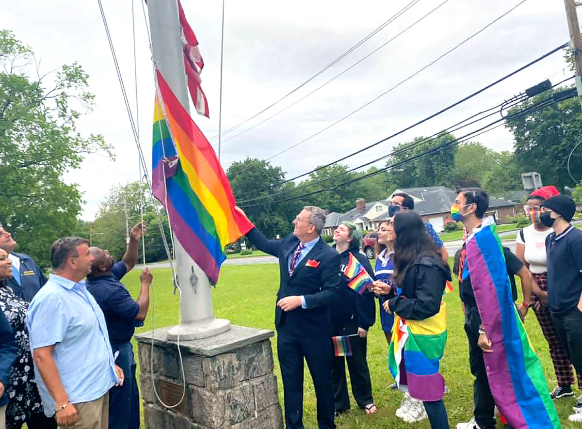 Town of Huntington Recognizes Pride Month with Flag Raising on the Village Green